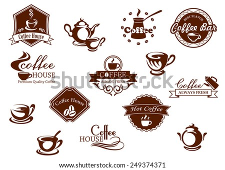 Coffee icons, banners and logos  in brown suitable for restaurants, coffee house and coffee bar showing pots and cups of coffee some with text and frames - stock vector