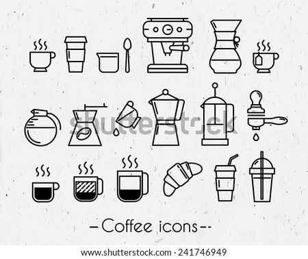 Coffee icons execution lines in minimalistic style symbol coffee cup, coffee, french press, plastic cups on paper background - stock vector