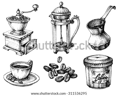 Coffee icons hand drawn set - stock vector