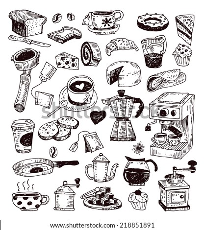 Coffee icons, illustration vector. - stock vector