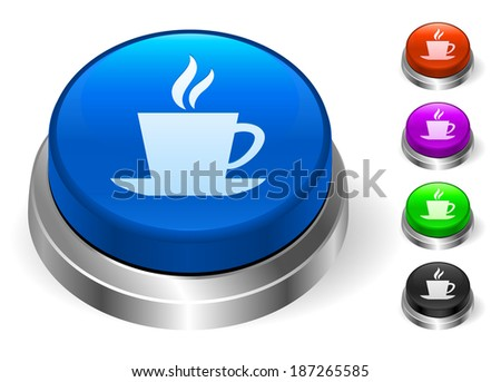 Coffee Icons on Round Button Collection