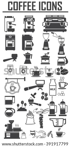 coffee icons set. Big pack - stock vector