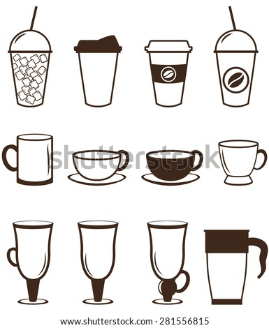Coffee icons set. Buttons for web and apps. Vector illustration in linear style. - stock vector