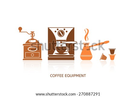 Coffee icons set in minimalistic style. Flat coffee icons. Coffee equipment. Vector illustration EPS 10. - stock vector