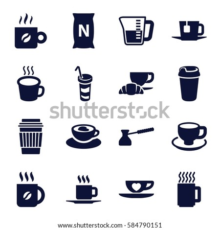 Coffee Icons Set Of 16 Filled Such As Drink Bag With