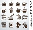 coffee icons set vector - stock photo