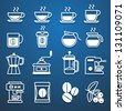 coffee icons white set - stock vector