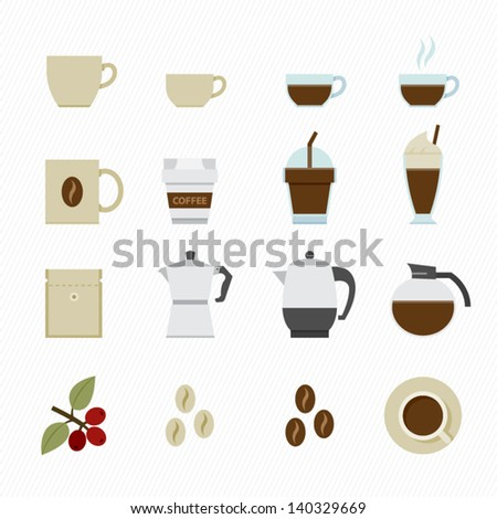 Coffee icons with White Background - stock vector