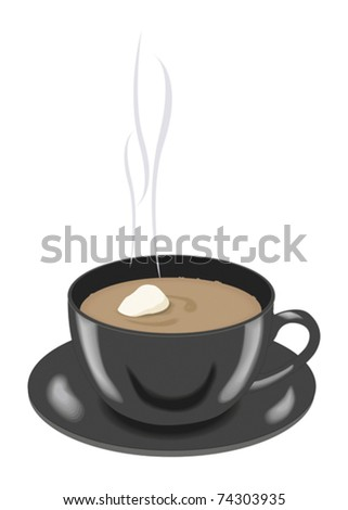 Coffee in a black cup. Vector illustration - stock vector