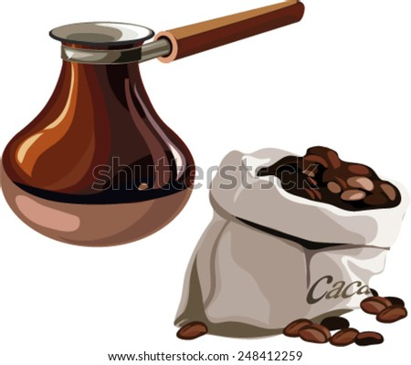 coffee in the bag, cocoa, turk for brewing coffee - stock vector