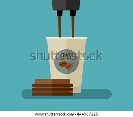 Coffee is poured into paper cup. Flat illustration of coffee paper cup. - stock vector