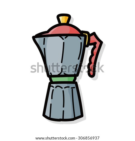 Coffee Kettle Maker Color Doodle Stock Vector 306856937 - Shutterstock