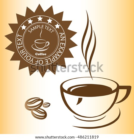 coffee, label, badge, cup of coffee, coffee beans, vector