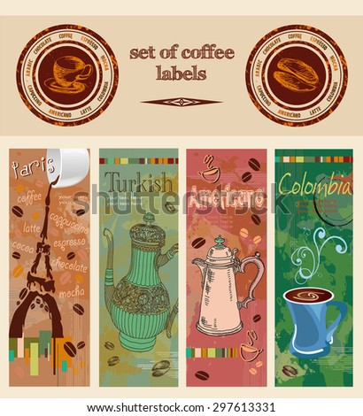 coffee. labels - stock vector