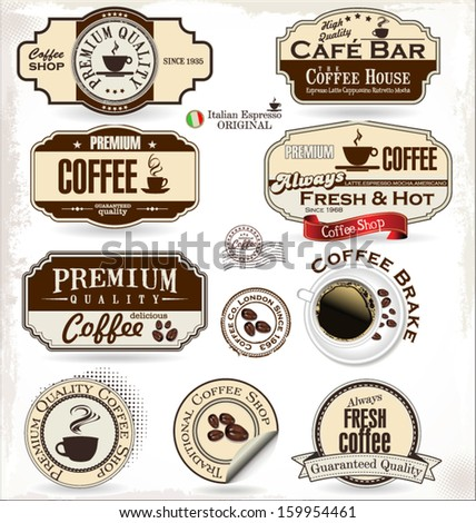 Coffee labels and badges - stock vector