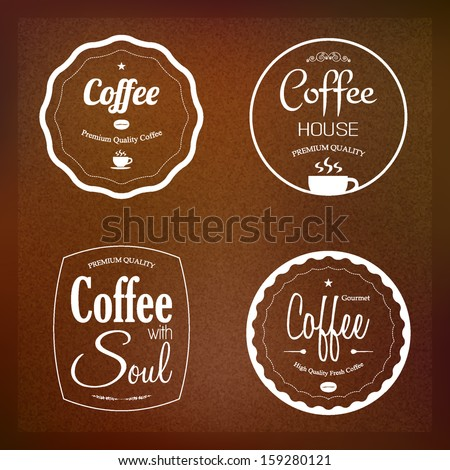 Coffee labels set, cafe restaurant menu design, vector