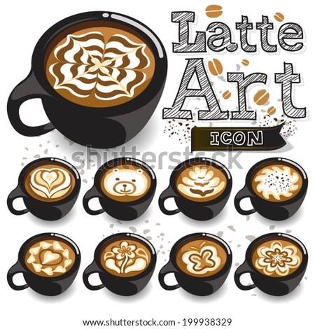 Coffee Latte Art Black Cup - stock vector