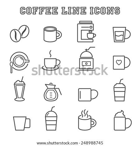 coffee line icons, mono vector symbols - stock vector
