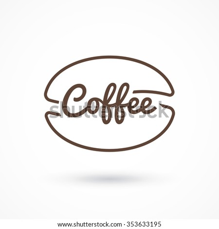 Coffee logo. Inscription coffee inside coffee beans - stock vector