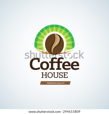 Coffee logo template on circle green background. Cafe house logotype template. Cafe emblem sign. Cafeteria symbol. Vector illustration. - stock vector