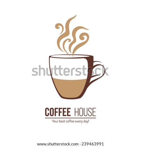 coffee logo template with stylized cup - stock vector