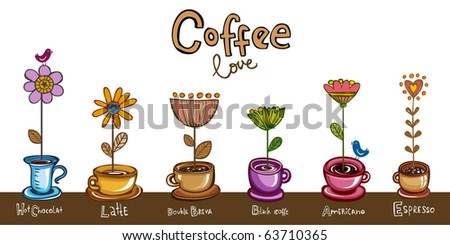 Coffee love, Greeting card, six different coffee cups with flowers - stock vector