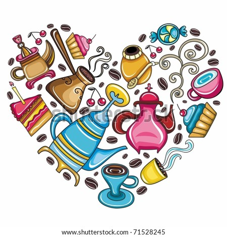 Coffee lover scene: Beautifully arranged coffee, tea, mate related objects and devices in the shape of heart isolated on white - stock vector