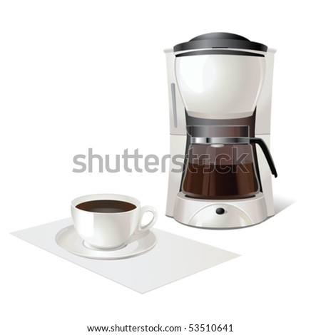 Coffee maker and cup of tasty cofee