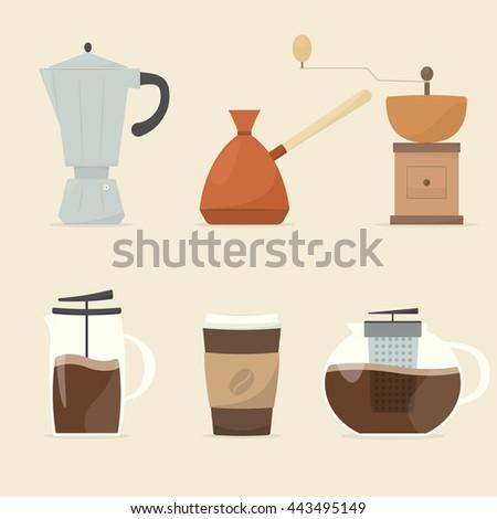 coffee maker icon set - stock vector