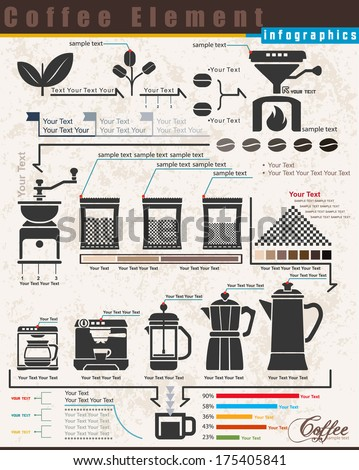 Coffee Maker infographic elements, Steps to make coffee, illustrator vector - stock vector