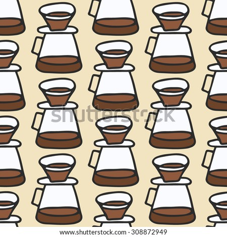 Coffee maker.  Seamless pattern with doodle pour over. Hand-drawn sketch background. Vector illustration.  - stock vector