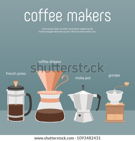 Coffee Makers Vector Color Stock Vector 1093482431 - Shutterstock