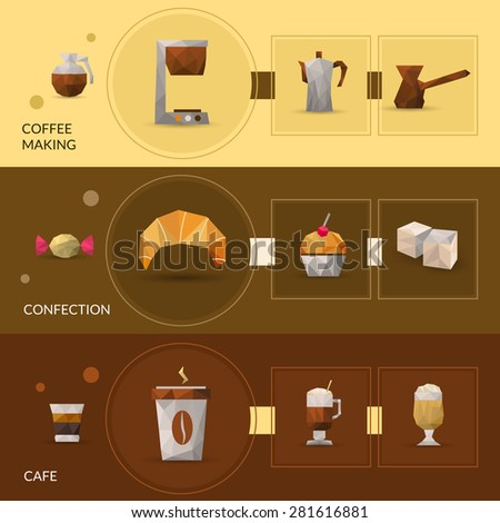 Coffee making and confectionery polygonal horizontal banner set isolated vector illustration - stock vector