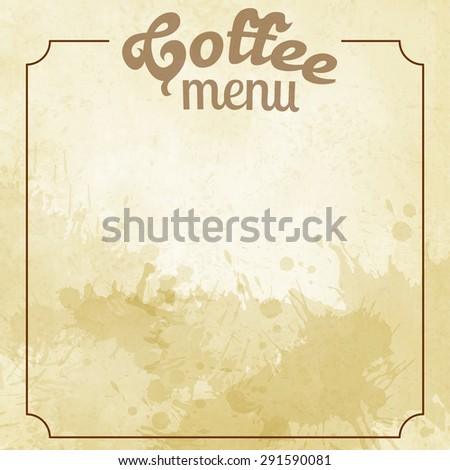 Coffee menu card on the watercolor background with splashes - stock vector