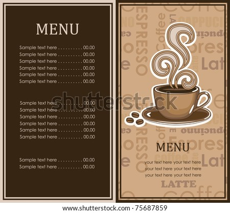 Coffee Menu Card Vector Illustration Stock Vector