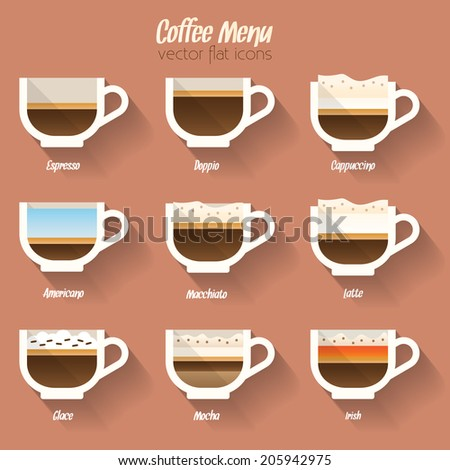 Coffee menu icon set. Buttons for web and apps. Coffee beverages types and preparation: espresso, doppio, mocha, macchiato, americano, latte, glace, irish, cappuccino. Vector illustration. - stock vector