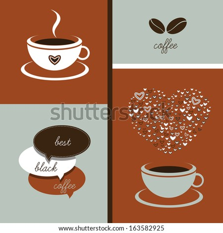 Coffee menu restaurant flyer. Vector background illustration.