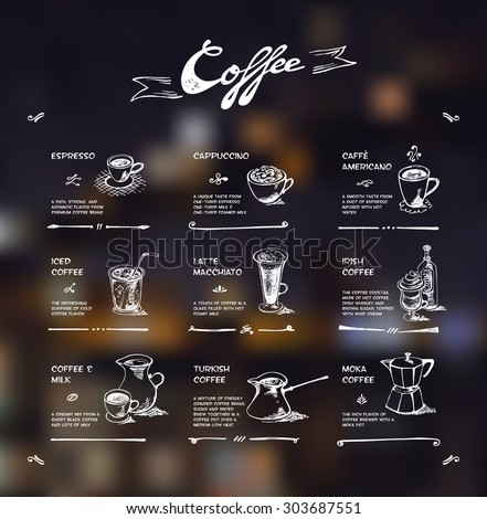 Coffee menu. White drawing on dark background - stock vector