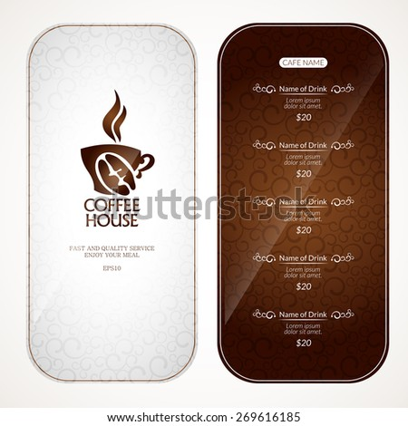 Coffee menu with a list of drinks. - stock vector