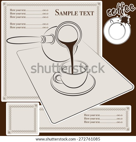 coffee menu with editions elements, cards and label - stock vector