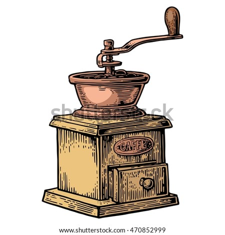 Coffee mill. Hand drawn sketch style. Vintage color vector engraving illustration for label, web. Isolated on white background.