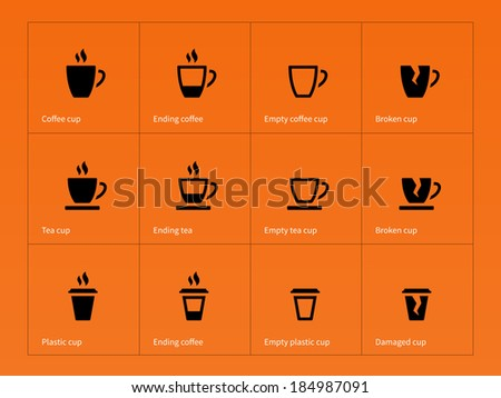 Coffee mug icons on orange background. Vector illustration. - stock vector
