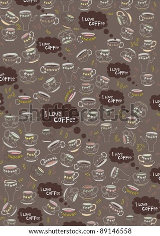 Coffee Mug Pattern - stock vector