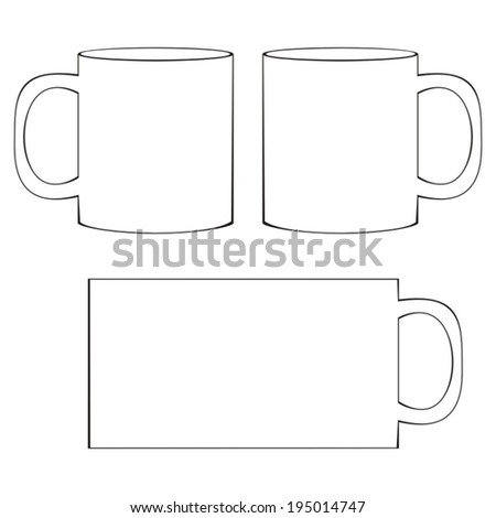 coffee mug template blank white coffee stock vector 195014747 shutterstock. Black Bedroom Furniture Sets. Home Design Ideas