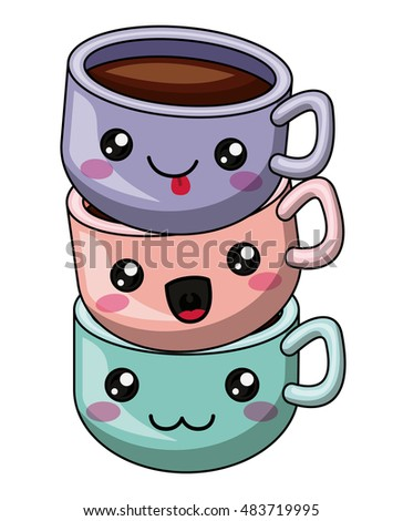 Coffee mug with kawaii face icon. Cute cartoon and character theme. Isolated design. Vector illustration