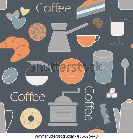Coffee objects seamless color background