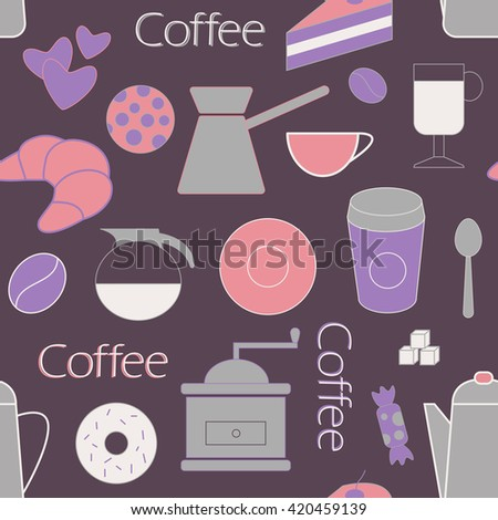 Coffee objects seamless color illustration