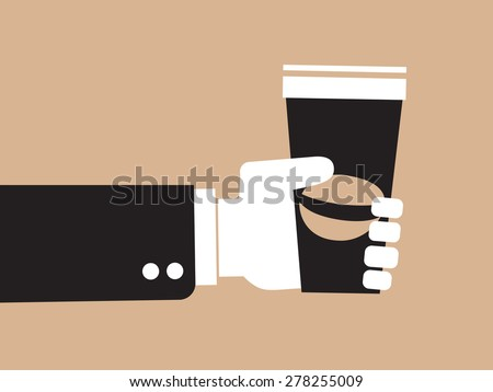 coffee on the go, businessman hand holding paper cup of coffee - stock vector