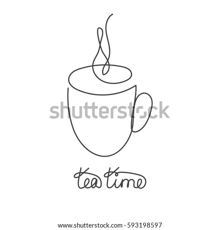 Coffee Or Tea Cup Continuous Line Drawing Element Isolated On White Background For Logo Decorative