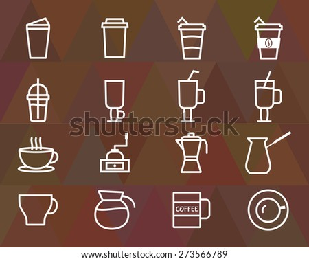 Coffee outline elements and symbol line icon isolated on polygonal triangle background. Can be used as icon, logo, elements in infographics on web and mobile app. Vector illustration